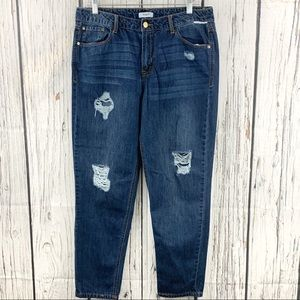 Kensie Girlfriend Distressed Relaxed Fit Jeans